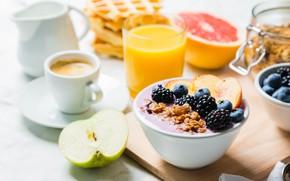 Обои ягоды, йогурт, фрукты, завтрак, сок, кофе, вафли