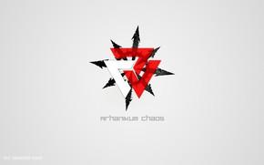 Картинка белый, красный, Хаос, Логотип, слова, Символ, Арханикум, 2017