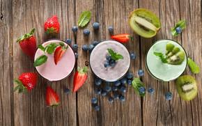 Картинка ягоды, киви, черника, клубника, йогурт