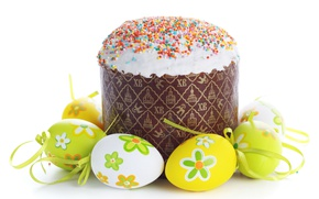 Картинка Пасха, Яйца, Еда, Кулич, крашенки, Праздники, Выпечка