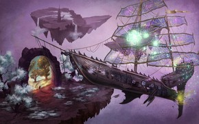 Картинка корабль, крушение, портал, фэнтези, арт, врата, Markus Stadlober, Wrecked Astral Glider