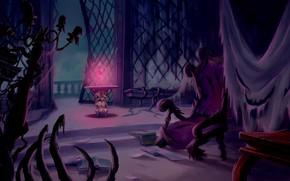 Картинка сияние, роза, книги, кресло, мрачно, красавица и чудовище, beauty and the beast, таинственно, запрещенная комната