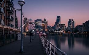 Картинка вода, город, река, Лондон, здания, вечер, фонари, набережная
