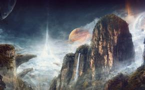 Обои облака, скалы, небо, лес, ущелье, планета, деревья, водопад, горы, the ring of worlds, поза