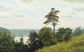 Обои Андрей ГЕРАСИМОВ, масло, На берегу Оки, деревья, Холст