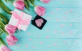 Обои цветы, подарок, Весна, Тюльпаны, сердечки, Фон, flowers, Spring, Background, Tulips