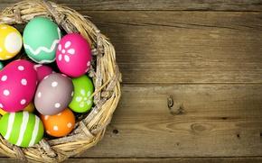 Картинка яйца, colorful, Пасха, happy, wood, spring, Easter, eggs, holiday