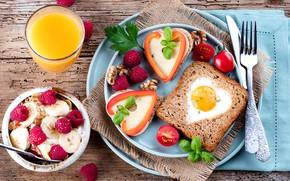 Картинка ягоды, малина, еда, завтрак, сыр, банан, апельсиновый сок, бутерброды, грецкие орехи, базилик, овсянка, помидоры-черри