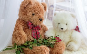 Картинка игрушка, розы, мишка, bear, romantic, teddy, roses