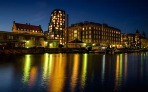 Картинка небо, ночь, огни, река, дома, звёзды, лодки, Дания, Copenhagen