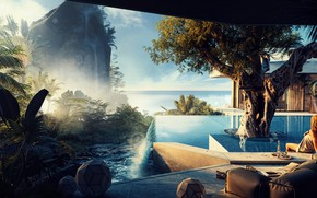 Картинка скала, дерево, водопад, бассейн, Easy Slumber