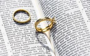 Обои книга, свадьба, золото, украшения, кольца