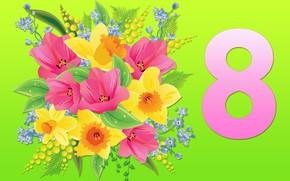 Картинка цветы, фон, букет, 8 марта