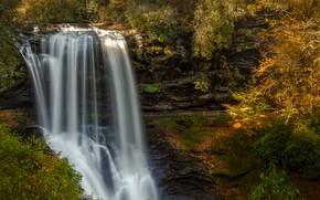 Картинка лес, солнце, деревья, скала, водопад, США, Highlands, North Carolina