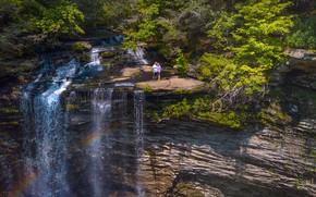 Картинка зелень, лес, солнце, деревья, скала, камни, люди, водопад, США, Tennessee, Piney Falls