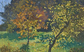 Картинка осень, листья, деревья, пейзаж, природа, картина, Elioth Gruner, Autumn. Manar, Элиот Грюнер