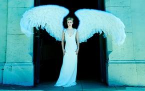 Картинка крылья, ангел, фигура, платье, актриса, прическа, блондинка, в белом, фотосессия, позирует, Кристен Белл, Kristen Bell, ...