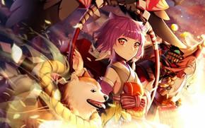 Картинка собака, аниме, арт, девочка, Onmyouji
