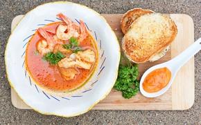 Картинка greens, shrimp, tomato sauce, seafood soup, croutons