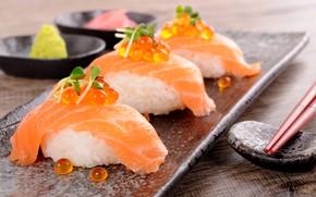 Картинка стол, палочки, рис, суши, васаби, имбирь, красная икра, лосось, красная рыба