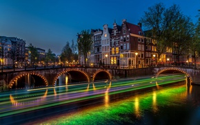 Картинка ночь, мост, огни, река, выдержка, Амстердам, фонари, Нидерланды, Amsterdam, Night, Netherlands, Bridges, Rivers