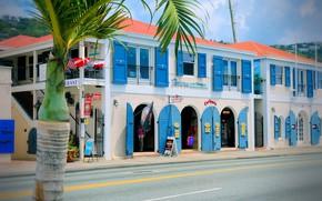 Картинка город, улица, здания, архитектура, north america, Виргинские острова, колониальный стиль, us virgin islands