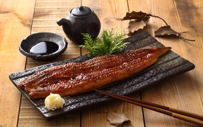 Картинка рыба, палочки, имбирь, соевый соус