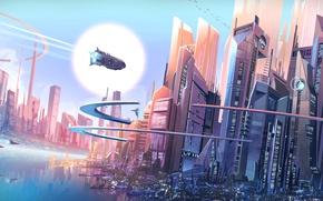 Обои fantasy, futuristic city, future, buildings, spaceships, fantasy art, cityscape, digital art, skyscrapers, City, François Coutu, ...