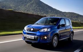 Картинка авто, синий, движение, blue, Fiat, Motion, metallic, Uno sporting