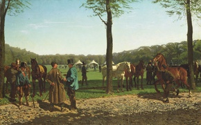 Обои Рынок Лошадей в Гааге, Корнелис Альбертус Йоханнес Шермер, масло, животные, холст, картина