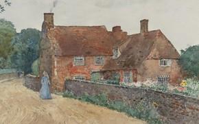 Картинка пейзаж, дом, улица, картина, Frederick Childe Hassam, Чайльд Гассам, Бродстейрский Коттедж