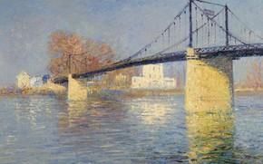 Картинка пейзаж, река, картина, опора, Гюстав Луазо, Gustave Loiseau, Подвесной Мост в Триель-Сюр-Сена