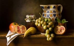 Картинка виноград, груша, кувшин, джем, гранат