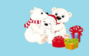 Картинка мишка, настроение, новый год, мама, детская, семья, мишутка, папа, подарок, арт, праздник, шапочка, вектор