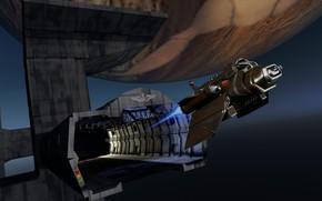 Картинка космос, корабль, тоннель, Interceptor, аппарат