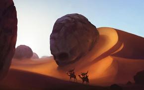Картинка skull, fantasy, sand, artwork, fantasy art, Desert, dunes, camels, caravan