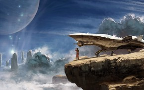 Обои planet, artwork, rocks, science fiction, Kelvin Liew, clouds, digital art, astronaut, fantasy, fantasy art, Explorer, ...