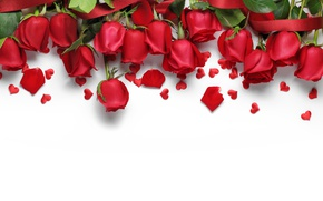Картинка сердечки, red, love, flowers, romantic, hearts, Valentine's Day, gift, roses, красные розы