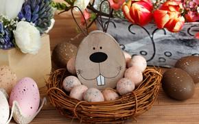 Картинка праздник, рисунок, яйца, кролик, пасха