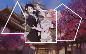 Картинка аниме, сакура, бездомный бог, Ято, madskillz, дом у сакуры
