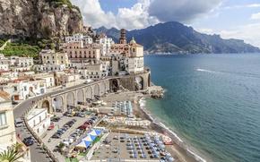 Обои Atrani, Italy, view, Europe, panorama, travel, город, Salerno, city, cityscape, пляж, побережье, beach, Италия, Amalfi ...