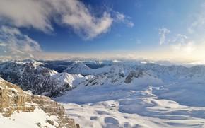 Картинка зима, небо, солнце, облака, снег, горы, скалы, Германия, Бавария, панорама