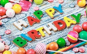 Картинка colorful, печенье, конфеты, сладости, Happy Birthday, colours, celebration, cookies, candy, decoration, День Рождения