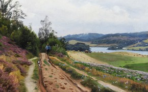 Обои пейзаж, река, Дорога в Вирклунд. Дания, Peder Mørk Mønsted, путник, Петер Мёрк Мёнстед, природа, картина