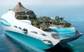 Обои проект, superyacht, Futuristic, яхта-остров, gesign, Yacht-island, tip 3