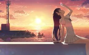 Обои девочка, ракушка, kantoku, арт, закат