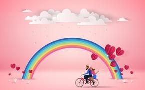 Картинка Природа, Радуга, Пара, Велосипед, Рендеринг, Облока