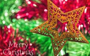 Картинка звезда, Рождество, украшение, боке