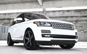 Картинка wheels, Range Rover, black, with, Vossen, roof, gloss, lowered, HSE, wrapped