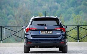 Картинка дорога, лес, ограждение, вид сзади, Fiat, универсал, Tipo Kombi